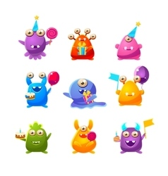 Toy monsters with birthday party objects vector