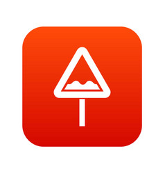 Uneven triangular road sign icon digital red vector