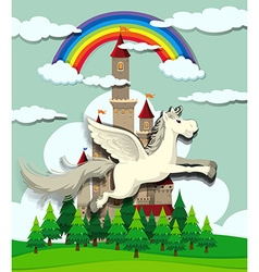 Unicorn flying over the castle vector