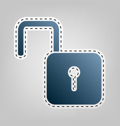 unlock sign blue icon with vector image