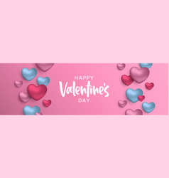 valentines day 3d pink and blue heart web banner vector image
