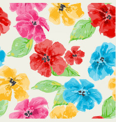 Watercolor floral seamless pattern in bright vector