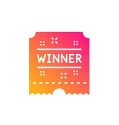 Winner ticket icon amusement park award sign vector
