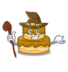 Witch birthday cake mascot cartoon vector