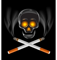 cross of cigarettes with skull vector image vector image