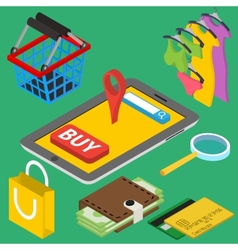 Flat 3d isometric online store e-commerce web vector image vector image