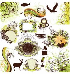floral grunge design elements set vector image vector image