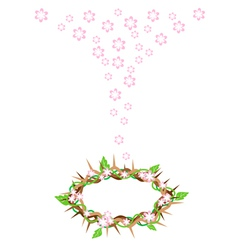 Fresh Leaves Falling to A Crown of Thorns vector image vector image