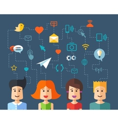 isolated flat design people social network compo vector image