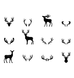 Set of antlers silhouette vector image vector image