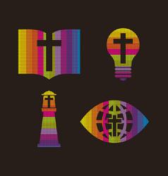 set of christian symbols vector image