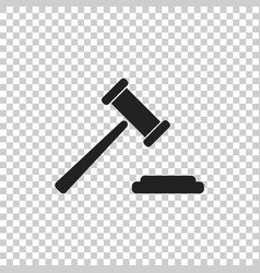 Auction hammer icon court tribunal flat icon vector