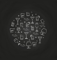 alcoholic drinks icons on chalkboard vector image