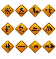 diamond road signs vector image vector image