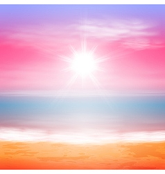 Sea sunset with bright sun vector image vector image