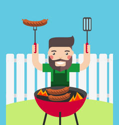 smiling man cooking barbecue outdoor vector image
