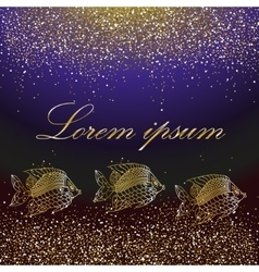 Dolden sparkles and golden fishes vector image