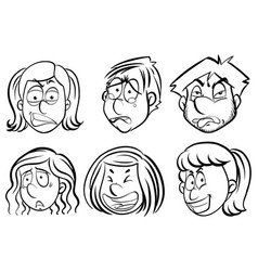 human faces with facial expressions vector image vector image