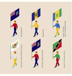 set of people with flags of caribbean countries vector image