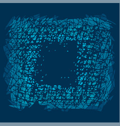 abstract blue scratches square frame vector image