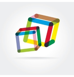Abstract logotype with two box vector image