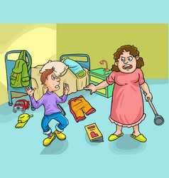 Angry mother looking at messy bedroom vector