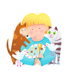 Animals cat and dog eating with little girl from vector