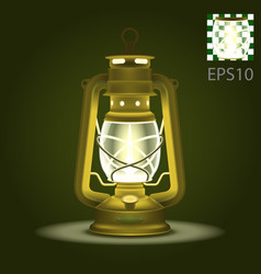 antique retro brass old kerosene lamp vector image