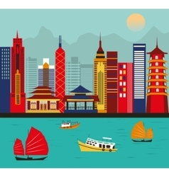 Asian big city vector image