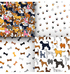 awesome set of seamless patterns with cartoon vector image