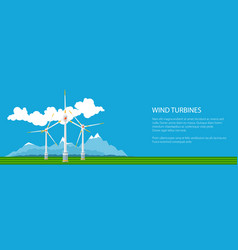 banner with wind turbines on ground vector image