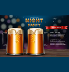 beer mugs realistic party flyer with vector image