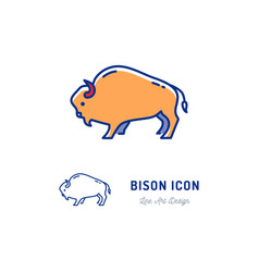 bison icon thin line art colorful bull sign vector image