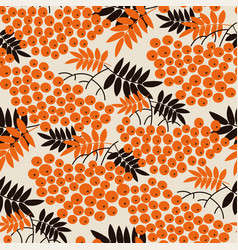 black and orange rowanberry seamless pattern vector image