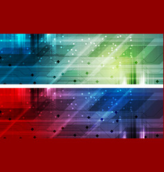 Bright abstract technology headers banners vector