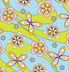 butterflies and flowers vector image