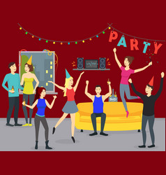 Cartoon happy people in party at home concept vector