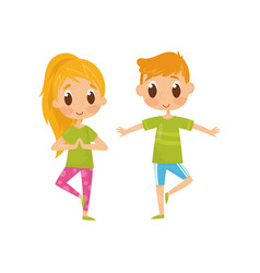 children doing balancing yoga exercise funny vector image