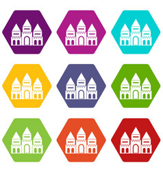 Children house castle icon set color hexahedron vector
