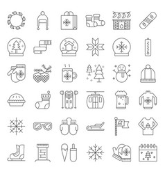 chirstmas related line style icon set editable vector image