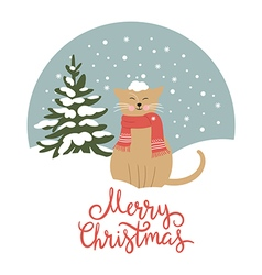 Christmas card cute snow-covered cat vector image