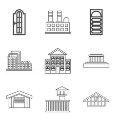 City edifice icons set outline style vector