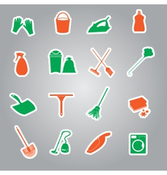 Cleaning stickers set eps10 vector