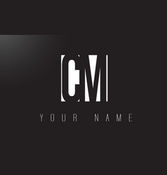 cm letter logo with black and white negative vector image