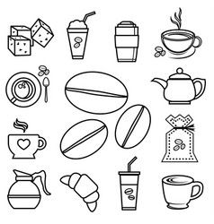 coffee icon set outline with accessories and vector image