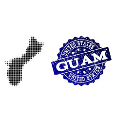 Collage of halftone dotted map of guam island and vector