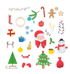 collection of christmas decorations isolated on vector image