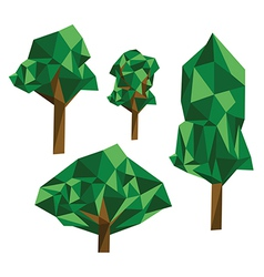 Collection of different origami trees vector image
