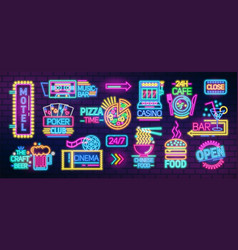 collection of symbols signs or signboards glowing vector image