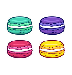 colorful macaroon icons set isolated on white vector image